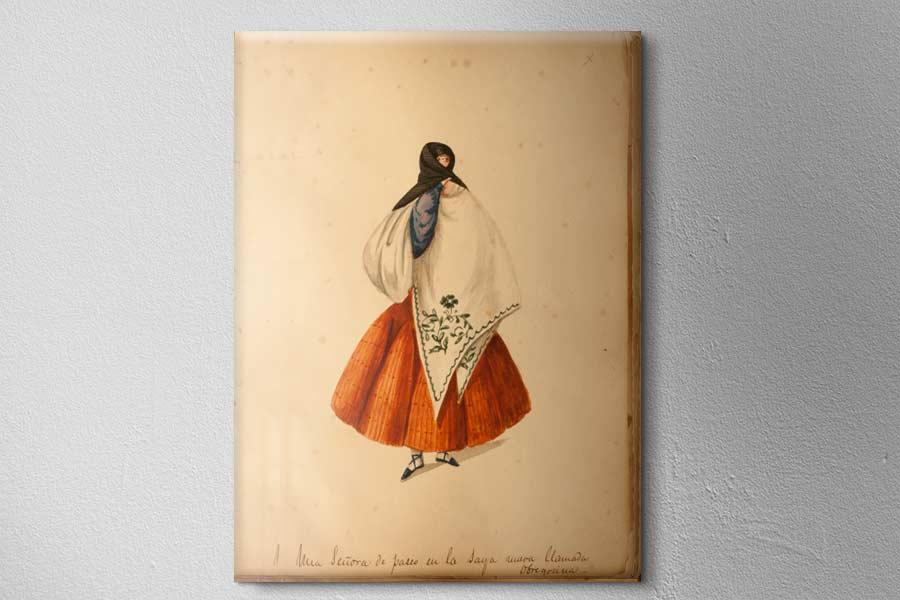 Una Señora de paseo en la saya nueva llamada obregosina del famoso pintor Pancho Fierro
